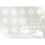 ウィンドウシール 両面印刷 クリスマス 雪の結晶 サンタシルエット (6890)