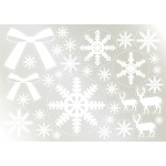 ウィンドウシール 両面印刷 クリスマス 雪の結晶 リボン トナカイ (6891)
