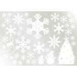 ウィンドウシール 両面印刷 クリスマス クリスマスツリー 雪の結晶 (6892)