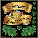 リボン Welcome ボード用イラストシール 緑(69051)