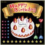 Happy Birthday ケーキ ボード用イラストシール (69054)