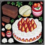 ケーキ各種 ボード用イラストシール (69639)