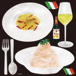 イタリアン(1) パスタ ベーコン 看板・ボード用イラストシール (W285×H285mm)
