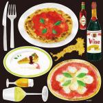 イタリアン(9) ピッツァ&ケーキ 看板・ボード用イラストシール (W285×H285mm)