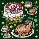 イタリアン(20) クリスマス 看板・ボード用イラストシール (W285×H285mm)
