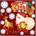 Pデコシール クリスマス サンタ・トナカイ ボード用イラストシール (69994)