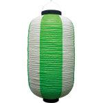 お祭り・店舗用ビニール製ちょうちん 緑・白 規格:9号長型 (9169)
