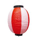 お祭り・店舗用ビニール製ちょうちん 赤・白 規格:9号丸型 (9172)