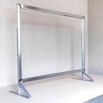 3段高さ調節機能付き飛沫感染防止板 PGバリアスタンド プラス シルバー W1500