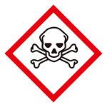 化学物質関係標識 GHSラベル どくろ 5枚入り サイズ: (中) ◇一辺/70mm (037206)