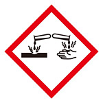 化学物質関係標識 GHSラベル 腐食性 5枚入り サイズ: (小) ◇一辺/40mm (037304)