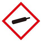 化学物質関係標識 GHSラベル ガスボンベ 5枚入り サイズ: (小) ◇一辺/40mm (037305)