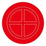 消防標識板 破壊板 アクリル赤色透明 サイズ (外径) :106mmφ×2mm (063106)