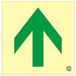避難誘導標識 中輝度蓄光式床用誘導標識 (認定証票付) 非常口 300mm角 表示:矢印のみ 黄地 (070016)