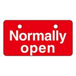 英文字バルブ開閉札 50×100 片面仕様 表記:Normally open (168003)