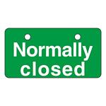 英文字バルブ開閉札 50×100 片面仕様 表記:Normally closed (168004)
