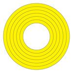 マーキングステッカー PET 100mmφ 10枚1組 カラー:黄 (208502)