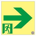 高輝度蓄光通路誘導標識 (認定証票付) 非常口 150mm角 表示:右矢印 (364951)