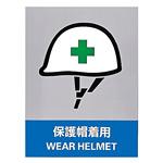 安全標識ステッカー 160×120 内容:保護帽着用 (29113)