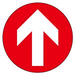 フロアシート 糊付丸形 Φ30cm 「矢印」床面滑り止め加工ラミネート仕様  Bタイプ