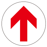 フロアシート 糊付丸形 Φ30cm 「矢印」床面滑り止め加工ラミネート仕様  Eタイプ
