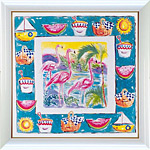 アートポスター 「フラミンゴ ピクニック」 アン・オームスビー作