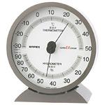 スーパーEX高品質温度計・湿度計 卓上用 サイズ:(約)132×121×50mm メタリックグレー (EX-2717)