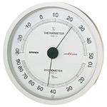 スーパーEX高品質温度計・湿度計 壁掛用 直径(約)162mm シャインシルバー (EX-2747)