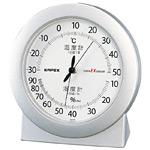スーパーEX高品質温度計・湿度計 卓上用 サイズ:(約)120×112×40mm シャインシルバー (EX-2767)