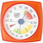 生活管理温度計・湿度計 四角 クリアオレンジ (TM-2434)