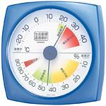 生活管理温度計・湿度計 四角 クリアブルー (TM-2436)