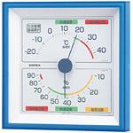 生活管理温度計・湿度計 壁掛け専用 ブルー 四角型(TM-2476)