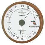 ワンダーワーカー温度計・湿度計 壁掛け・約120×27mm ブラウン (TM-487)