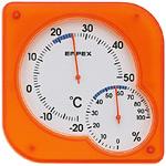 シュクレmidi温度計・湿度計 オレンジ
