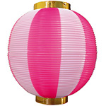 【尺丸】ストライプカラーポリちょうちん (8876) ピンク白