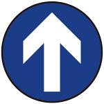 床面サイン フロアラバーマット 円形 矢印サイン 防炎シール付 Aタイプ 直径40cm (PEFS-009-A(40))