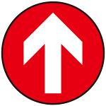 床面サイン フロアラバーマット 円形 矢印サイン 防炎シール付 Bタイプ 直径40cm (PEFS-009-B(40))