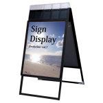 ポスターグリップスタンド看板パンフレットケース付(屋外用) A1サイズ 規格:両面 ブラック (PGSKP-A1RB-G)