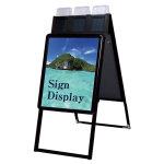 ポスターグリップスタンド看板パンフレットケース付(屋外用) A2サイズ 規格:両面 ブラック (PGSKP-A2RB-G)