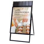 屋内用パンフレットケース付 ポスターグリップスタンド看板 規格:B1片面 ブラック (PGSKP-B1KB)