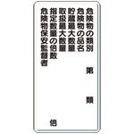 縦型標識 危険物種類 危険物の品名 等 鉄板 600×300 (319-09)