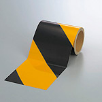 反射トラテープ (セパ付) 黒/黄 150mm幅×10m巻 (374-07)