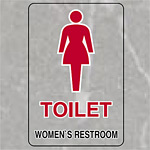 透明ステッカー 女子用トイレ 小 5枚1組 (807-71A)