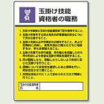 玉掛け技能資格の職務 エコユニボード 600×450 (808-25)