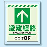 床設置用蓄光・避難口誘導標識 避難経路 8F 360×300 (824-208)