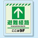 床設置用蓄光・避難口誘導標識 避難経路 9F 360×300 (824-209)