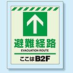 床設置用蓄光・避難口誘導標識 避難経路 B2F 360×300 (824-212)