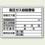 高圧ガス容器置場 ボード 450×600 (827-58)
