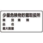 横型標識 少量危険物貯蔵取扱所 (名入れ部有) ボード 300×600 (830-53)