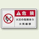 PL警告ラベル ヨコ型ステッカー 火災の危険あり火気厳禁 (10枚1組) サイズ:(大)60×110mm (846-14)